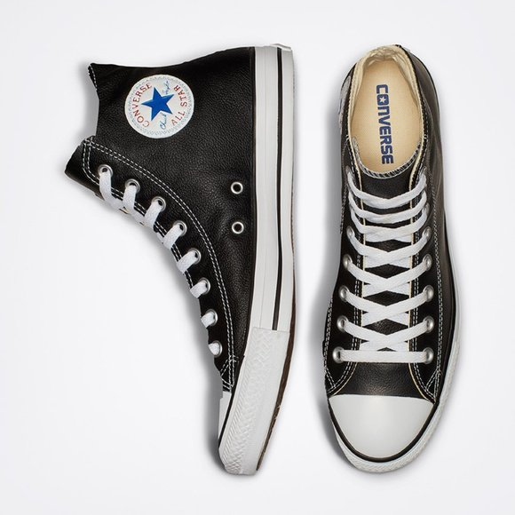 Converse All-Star Leather Black High-Tops 6.5